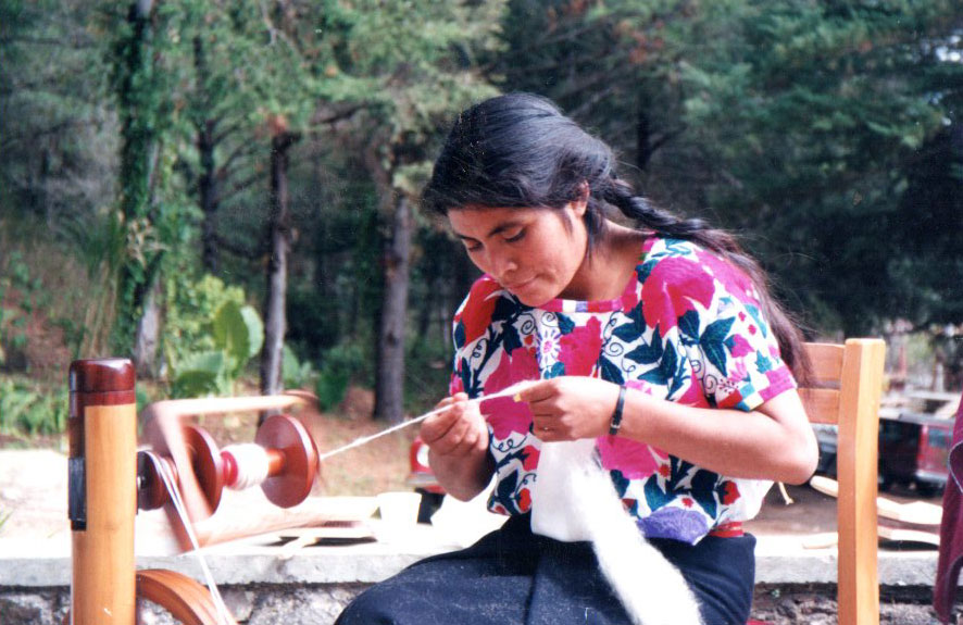 Zapotec woman spinning